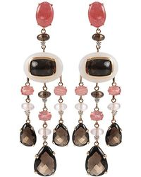Antonini - Quartz White Agate Rhodochrosite and Diamond Earrings - Lyst