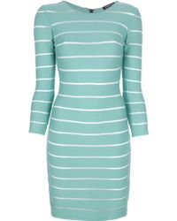 Balmain Sheer Stripe Dress - Lyst