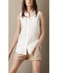 Burberry Brit Sleeveless Cotton Blouse - Lyst
