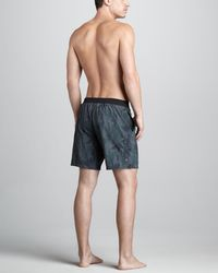 John Varvatos | Camo Thunder Swim Trunks | Lyst