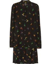 McQ by Alexander McQueen Bird Print Silk Dress - Lyst