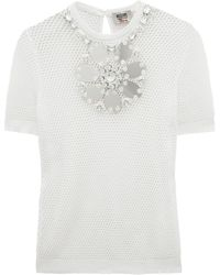 Moschino Cheap & Chic Embellished Mesh Tshirt - Lyst