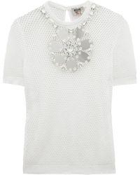 Moschino Cheap & Chic Embellished Mesh Tshirt white - Lyst