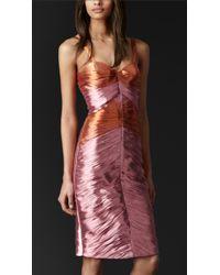 Burberry Prorsum - Pleated Metallic Bustier Dress - Lyst
