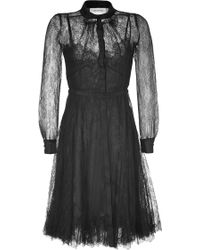 Valentino Black Belted Silk Lace Dress - Lyst