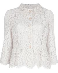 Dolce & Gabbana Sheer Lace Jacket - Lyst
