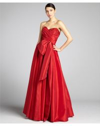 Notte by Marchesa Scarlet Pleated Taffeta Embellished Bow Strapless Gown - Lyst