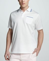 Peter Millar Tipped Pocket Polo - Lyst