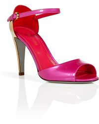 Sergio Rossi Pink/Gold Patent Leather Open Toe Sandals - Lyst
