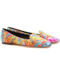 Dolce & Gabbana Scarf Print Slipper Style Loafers - Lyst