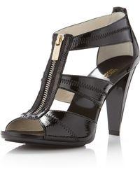 MICHAEL Michael Kors Berkley Patent T-Strap Sandal - Lyst