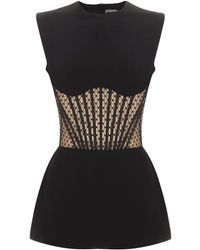 Alexander McQueen Black Lace Bone Detail Top - Lyst