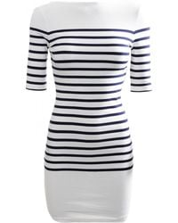 Jean Paul Gaultier Striped Boat Neck Dress Ecrumarine - Lyst