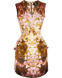 McQ by Alexander McQueen Printed Rose Petal Bust Pleat Dress - Lyst