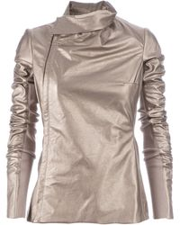 Rick Owens Slim Fit Leather Jacket gold - Lyst
