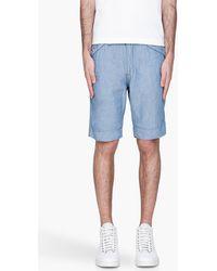 Diesel Mottled Blue Crinkled Linen Lab Shorts - Lyst