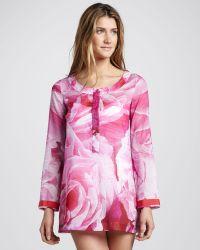 Oscar de la Renta Floral Print Tunic Cover-up - Lyst