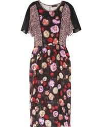 Mulberry Floralprint Silk Midi Dress - Lyst