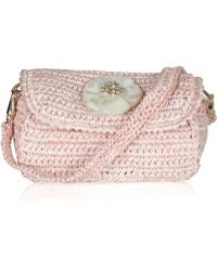 Ralph Lauren Collection - Mother Of Pearl Flower Raffia Clutch - Lyst