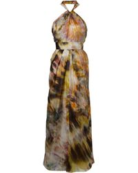 Biba Halter Smudge Printed Maxi Dress - Lyst