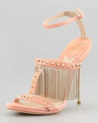B Brian Atwood Moultrie Metal Fringe Studded Suede Sandal - Lyst