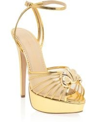 Charlotte Olympia Platform Sandals with Croissant Detail - Lyst