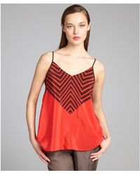 French Connection Valarian Red and Black Striped Silk Zigzag Tank - Lyst