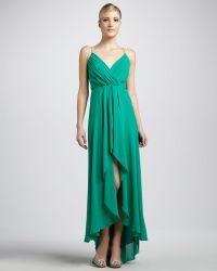 Nicole Miller Vneck Chiffon Gown - Lyst