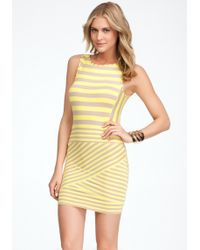 Bebe Mixed Stripe Skirt Dress - Lyst