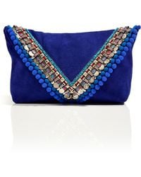 Matthew Williamson - Electric Blue Suede Embellished Envelope Clutch - Lyst