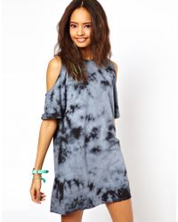 Asos Asos Shift Dress in Tie Dye with Cold Shoulder - Lyst