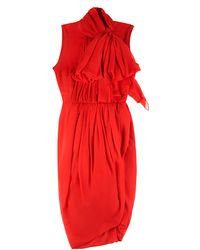 Giambattista Valli Garza Silk Dress with Bow - Lyst