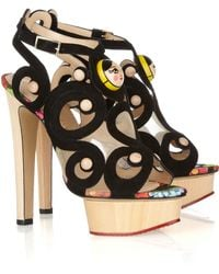 Charlotte Olympia Anastasia Suede and Wooden Sandals gold - Lyst