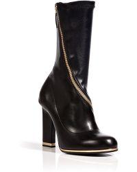 Jil Sander Black-Midnight Blue Leather Half Boots - Lyst