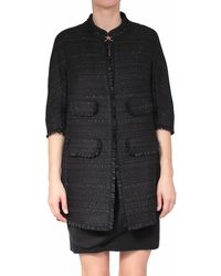 Les Copains Coat with Rush Matting - Lyst