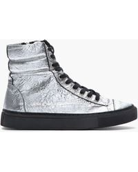 Silent - Damir Doma - Metallic Silver Crinkled Leather Surna Sneakers - Lyst