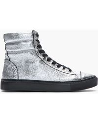 Silent By Damir Doma Metallic Silver Crinkled Satur High Top Sneakers - Lyst