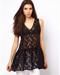 ASOS Collection Peplum Top in Lace with Drop Waist - Lyst