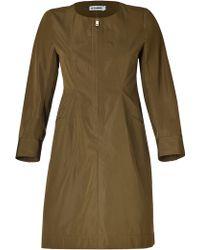 Jil Sander Olive Cotton-Silk Dress - Lyst