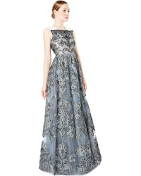 Valentino Brocade Gown with Mikado Shoulder Detail - Lyst