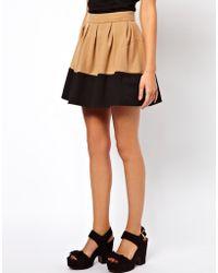 Asos Skater Skirt in Colour Block - Lyst