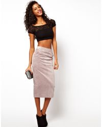 ASOS Collection  Pencil Skirt in Suede gray - Lyst