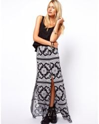 ASOS Collection Maxi Skirt in Scarf and Spot Print multicolor - Lyst