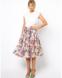ASOS Collection Asos Midi Skirt in Floral Jewel Print multicolor - Lyst