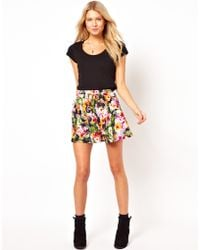 ASOS Collection Skater Skirt in Pansy Print - Lyst