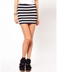 ASOS Collection Micro Mini Skirt in Stripe white - Lyst