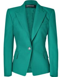 Balmain Emerald One Button Stretch Cotton Blazer - Lyst