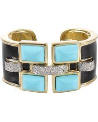 David Webb Turquoise Black Enamel Cuff with Diamonds - Lyst