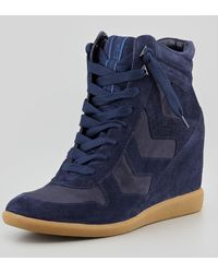 Sam Edelman Bennett Velour Hidden Wedge Sneaker - Lyst