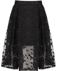 Topshop Floral Embroidered Calf Skirt - Lyst
